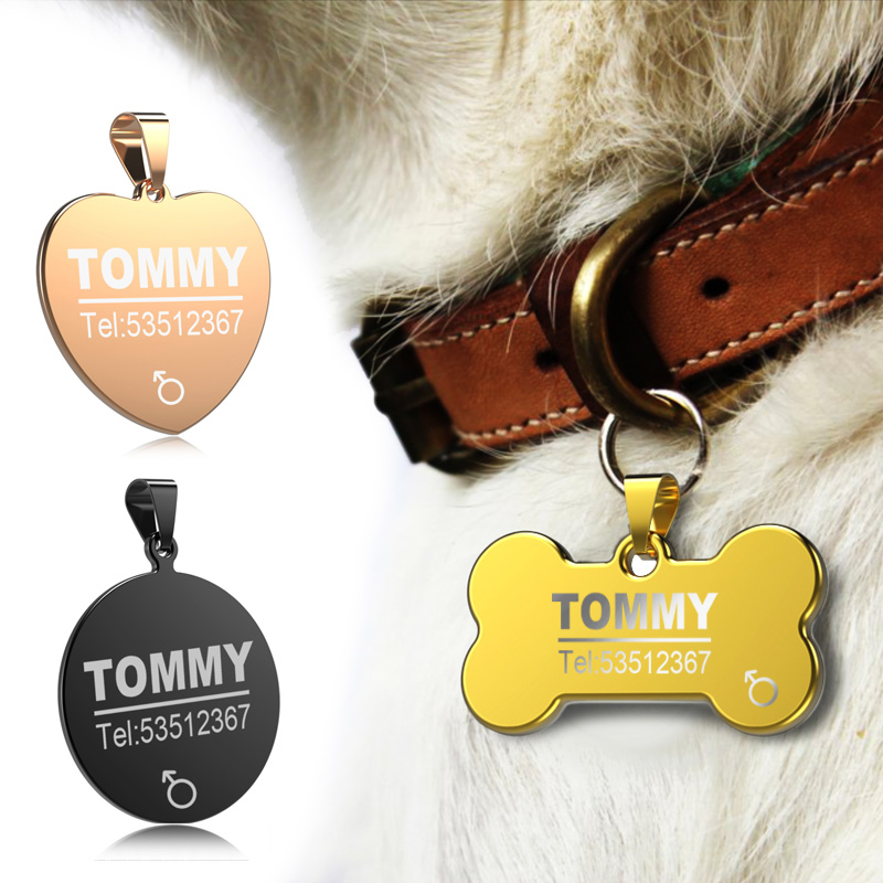 FLOWGOGO Anti-lost Stainless Steel Dog ID Tag Engraved Pet Cat Puppy Dog Collar Accessories Telephone Name Tags Pet ID Tags цена