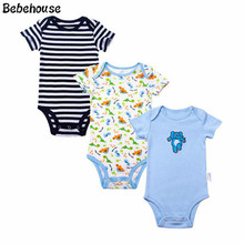 TBONTB 3 PCS/LOT Baby Boy Clothes Newborn Baby Bodysuit Short Sleeved Cotton Baby Wear Toddler Underwear Infant Clothing Baby