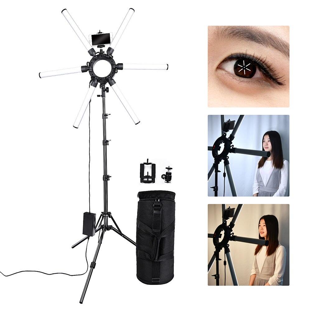 Fusitu Dimmable 3200 k-5500 k Photographie Maquillage 6 Tubes Yeux Étoiles LED Vidéo Photo Light Ring Lamp avec trépied pour Appareil Photo Téléphone