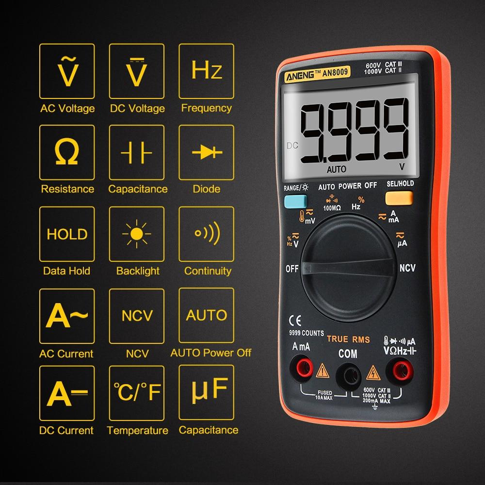 ANENG AN8009 True-RMS Auto Range Digital Multimeter NCV Ohmmeter AC/DC Voltage Ammeter Current Meter temperature measurement #1 auto range digital multimeter vc86 3 1 2 1000v dmm temperature meter w ncv hfe test