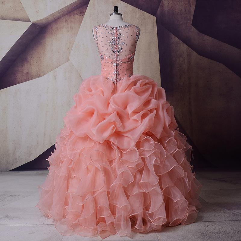 SoDigne Organza Wedding Dress Masquerade Peach Crystals Pink Wedding ... f01f906a90f8