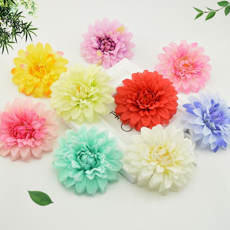 Artificial chrysanthemum Bridal bouquet wrist flower flowers Silk Carnation Heads for home accessories Wedding car Decoration
