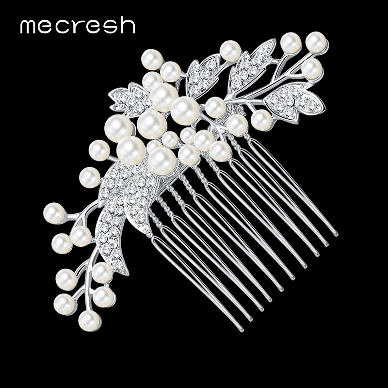 Mecresh Simulated Pearl Bridal Wedding Hair Accessories Leaf Bridal Hair Combs Hairpin Wedding Hair Jewelry for Women FS003