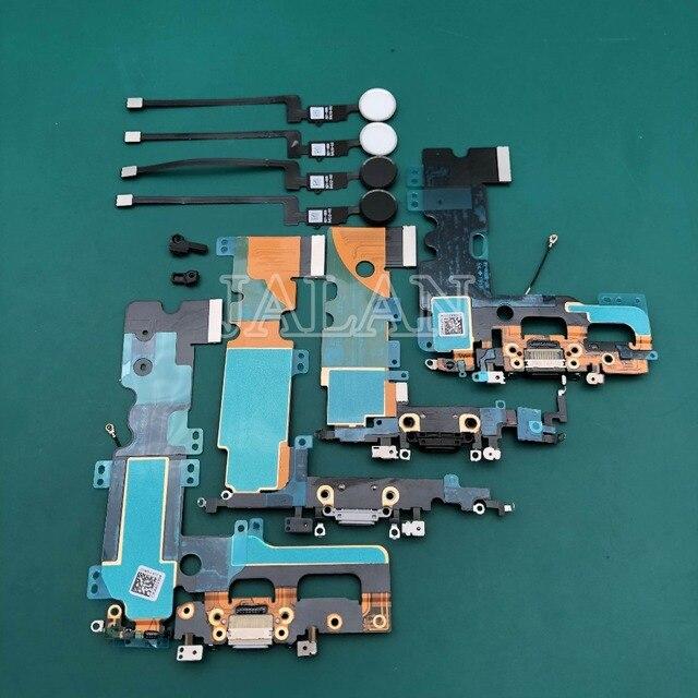 1 قطعة ميناء الشحن مع بصمة للهاتف 7/7 زائد التالفة منفذ شحن USB قفص الاتهام الكابلات المرنة الرئيسية زر العودة مفتاح إصلاح