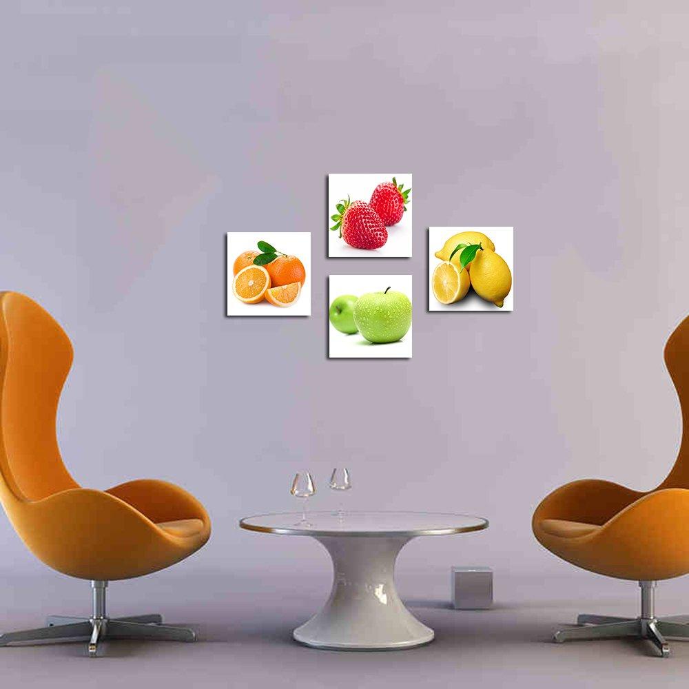 4 ชิ้น/เซ็ตยืดและกรอบส้ม, แอปเปิ้ล, มะนาว, ผลไม้สตรอเบอร์รี่ออกแบบผนังภาพวาด Drop shipping-ใน การระบายสีและการประดิษฐ์ตัวอักษร จาก บ้านและสวน บน   2