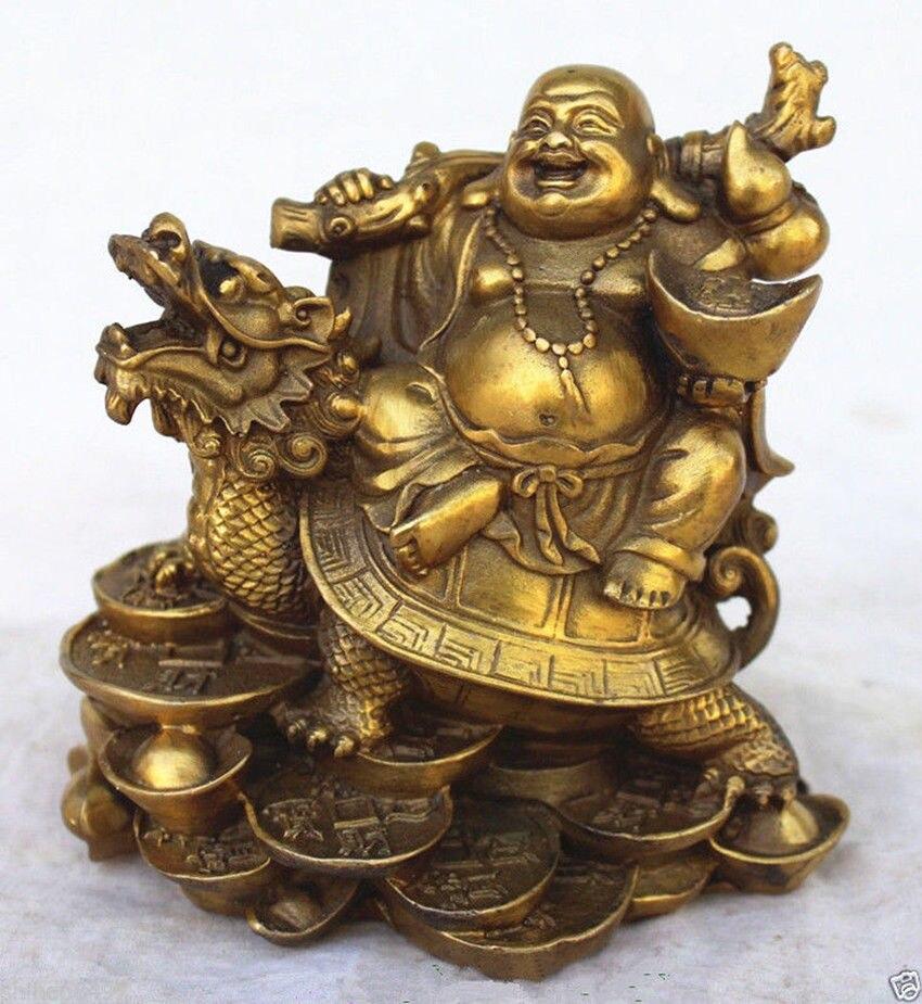 Richesse en cuivre chinois argent joyeux rire bouddha Maitreya sur Statue de tortue Dragon