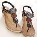 2015 Bohemia Клин Сандалии Женщин Летом Старинные Горный Хрусталь Женщина Вьетнамки Пляж Женская Обувь Мягкие Удобные XWZ415