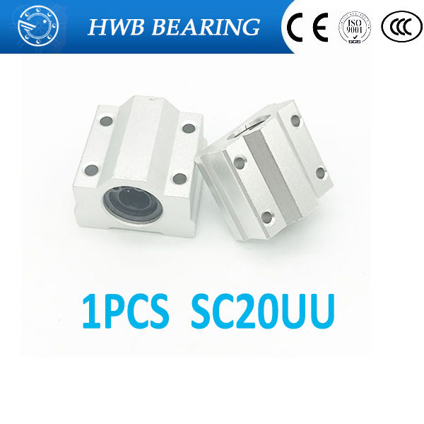 High quality  SC20UU SCS20UU 20mm linear ball bearing slide unit 20mm linear bearing block for 20mm rod round shaft 1pcs
