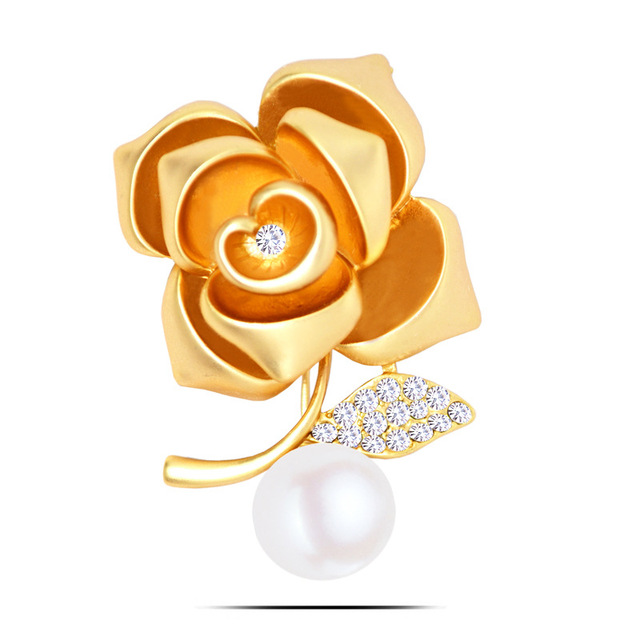 Women Vintage Jewelry Mothers Day Gifts Pearl Crystals Flower Large Antique Gold/Silver Pins and Brooches 2017 Trendy