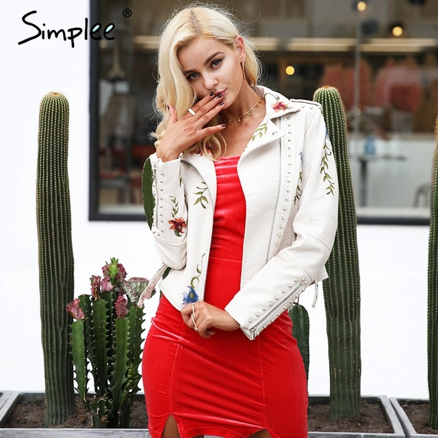 Simplee Embroidery floral faux leather jacket White basic jackets outerwear coats Women casual autumn winter jacket female coat 1