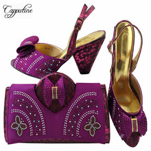 Capputine 2018 Fashion African Summer High Heels Shoes And Bag Set Italian Desgin Shoes And Bag Set For Party Dress MM1041