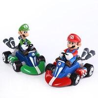 Супер Марио Bros карт Марио Луиджи картинг Гоночная машина ПВХ игрушки 4