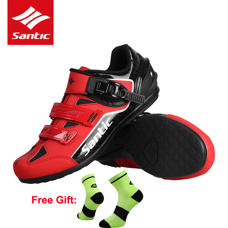 Santic Men s Bicycle Cycling Shoes Road Pro Team MTB Bike Shoes Rubber Breathable Bicycle Unlocked
