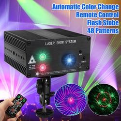 48 Pattern Laser Projector Remote/Sound Controll LED Disco Light RGB DJ Party Stage Light Christmas Lamp Decoration UK/US/EU