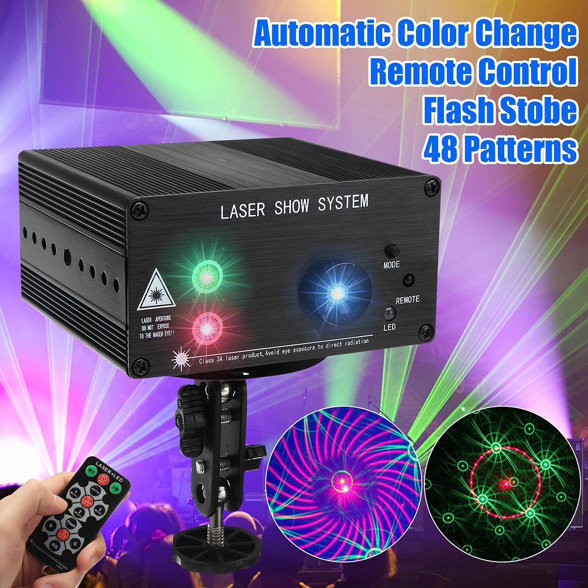 48 muster Laser Projektor Fernbedienung/Sound Controll LED Disco Licht RGB DJ Party Bühne Licht Weihnachten Lampe Dekoration UK /US/EU