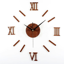 Retro Wooden Wall Clock 3D DIY Roman Numerals Strip Combination Fashion Clock Creative Elegant Silent Living Room Decor Clcok
