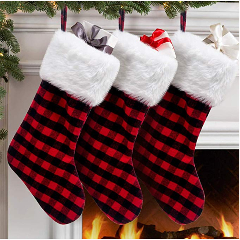 Red Christmas Stocking.Us 3 91 27 Off Red With Black Plaid With Christmas Snowy White Faux Fur Cuff Buffalo Check Christmas Stocking For Holiday Party Decorations In
