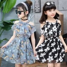 Для девочек в цветочек платья Летние шифоновые Детские Платья с цветочным принтом для детей Костюмы праздничное платье принцессы для девочек, Vestidos, одежда для детей