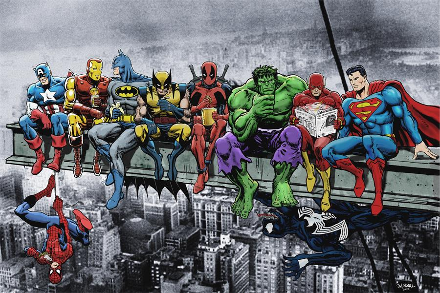 Custom Canvas Wall Decals DC Marvel Poster Superheroes Wall Stickers Captain America Hulk Iron Man Batman Wallpaper Flash #2490#
