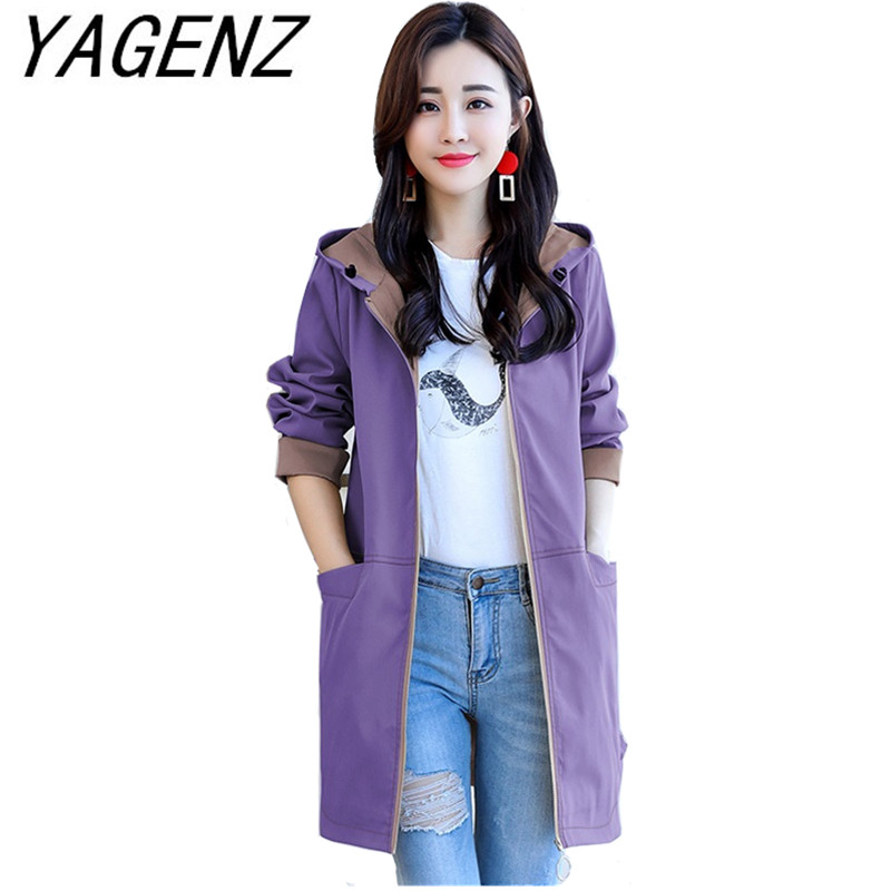 Mid-length   Trench   Coat Women 2019 Spring Fashion Loose Hooded Outerwear Casual Long-sleeve With Pocket Thin Female Windbreaker