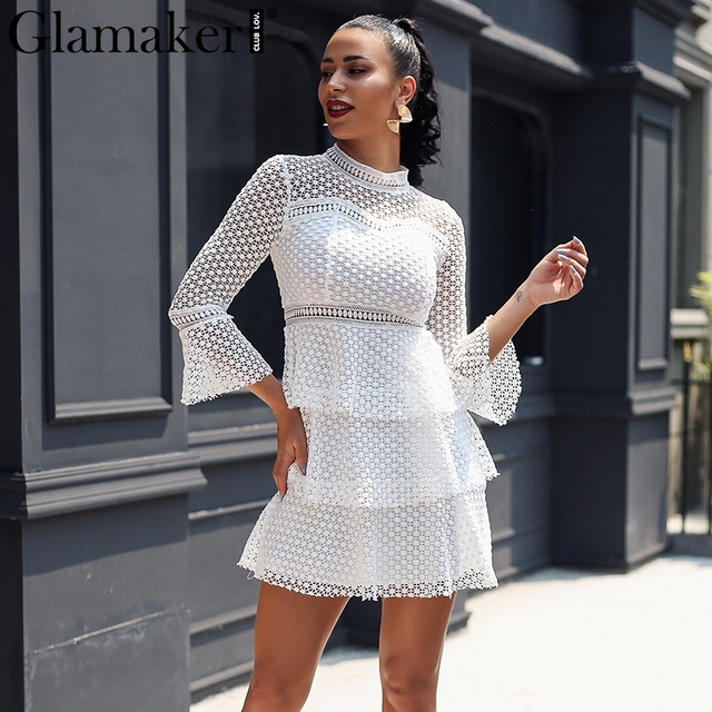 69b4fff09d8f Glamaker Vintage hollow out white lace dress Female flare sleeve  transparent party women dress Winter club short sexy dress 2018