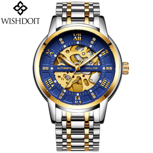 2019 NEW WISHDOIT Mens Watches Top Brand Luxury Men 39 s Automatic Mechanical Watch Men Fashion Business Waterproof Watch Clock in Mechanical Watches from Watches