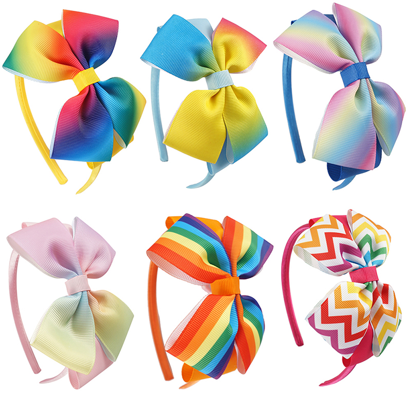 1 Pcs Rainbow Ribbon Headbands For Girls Handmade Boutique Bow Hairband Children Hair Accessories