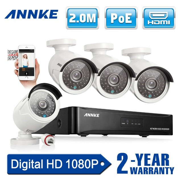 ANNKE 4CH 1080 P POE Системы ВИДЕОНАБЛЮДЕНИЯ full HD PoE ВИДЕОНАБЛЮДЕНИЯ NVR комплект 2.0MP камеры Безопасности ик открытый 1080 P видео Системы