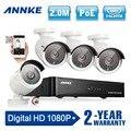 Annke 4ch 1080 p poe cctv sistema kit cctv nvr 2.0mp full hd poe câmera de segurança de infravermelho ao ar livre 1080 p sistema de vídeo