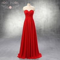 High Quality Strapless Sweetheart Neck Red Chiffon Empire Bridesmaid Dress Floor Length Formal Dress Custom Made