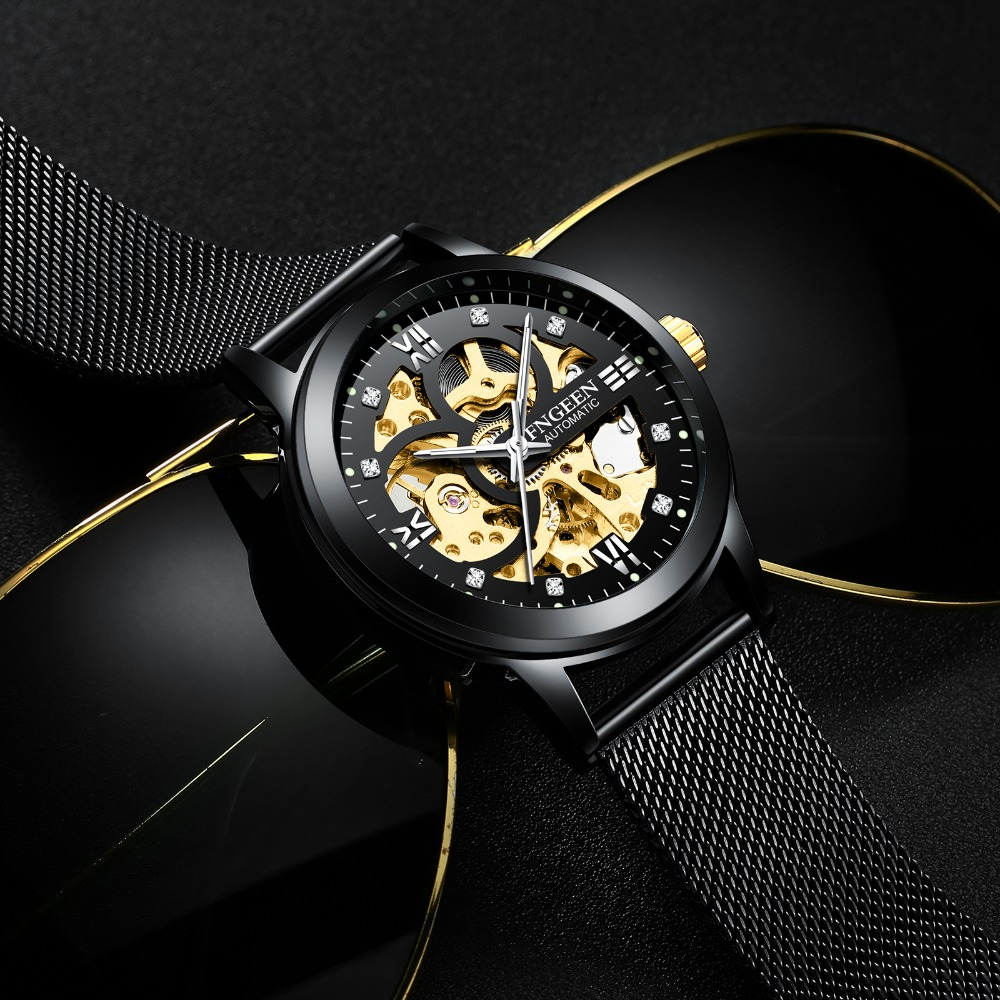 цена на FNGEEN Sport Mechanical Watch Luxury Golden Watch Mens Watches Top Brand Luxury Montre Homme Clock Men Automatic Skeleton