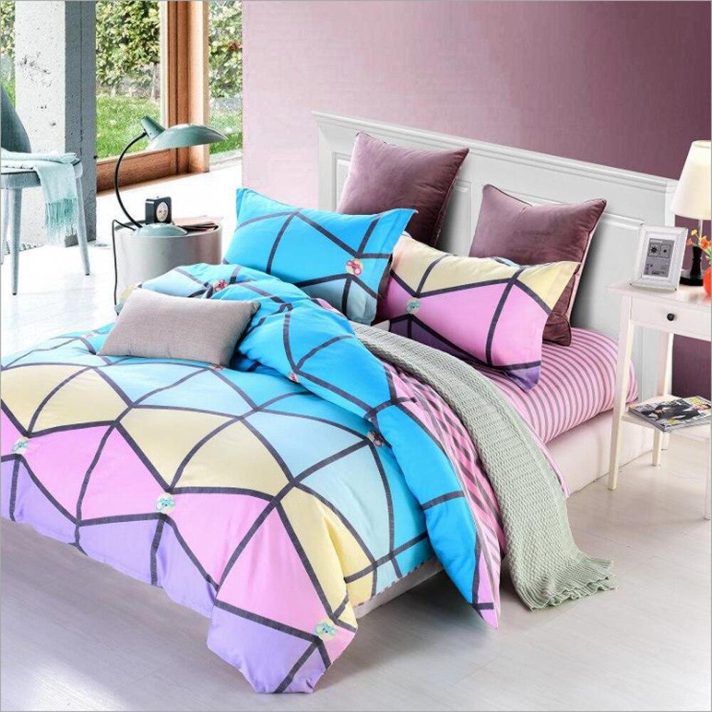 Color Geometric/Stripes/Ripple/Triangle/Spots/Number Pattern Duvet Cover Bed Sheet Set Lovely Princess Children Room Bedding Set