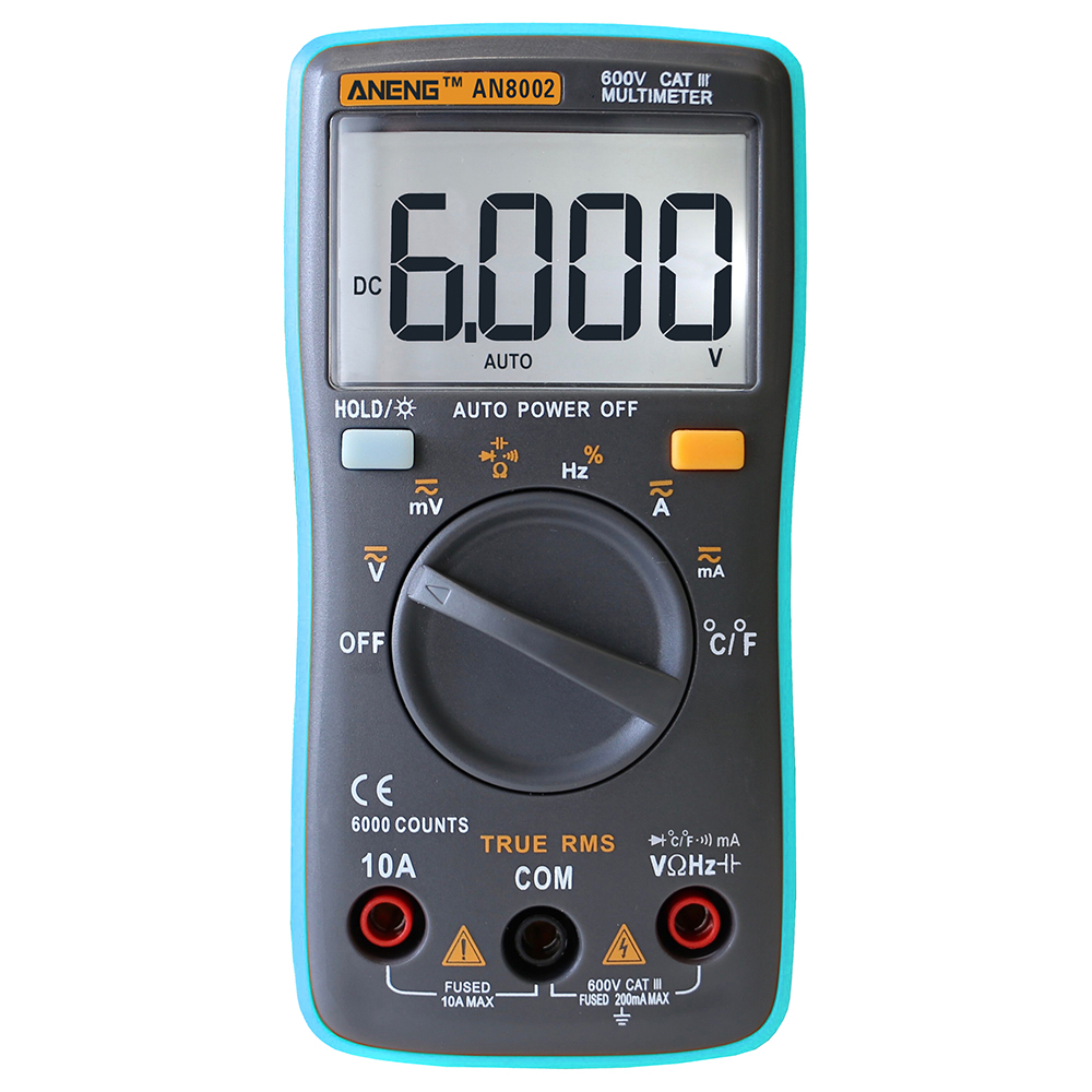 AN8002 Digital Multimeter 6000 counts Backlight AC/DC Ammeter Voltmeter Ohm Portable Mete auto digital multimeter 6000counts backlight ac dc ammeter voltmeter transform ohm frequency capacitance temperature meter xj23