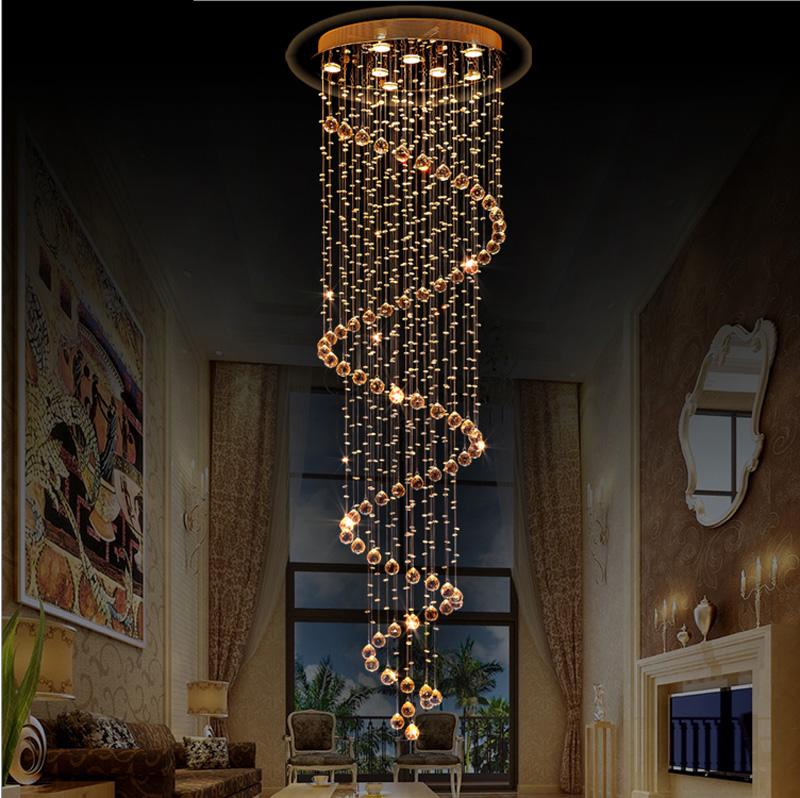 Stairway big crystal chandeliers modern staircase for Eclairage cage d escalier