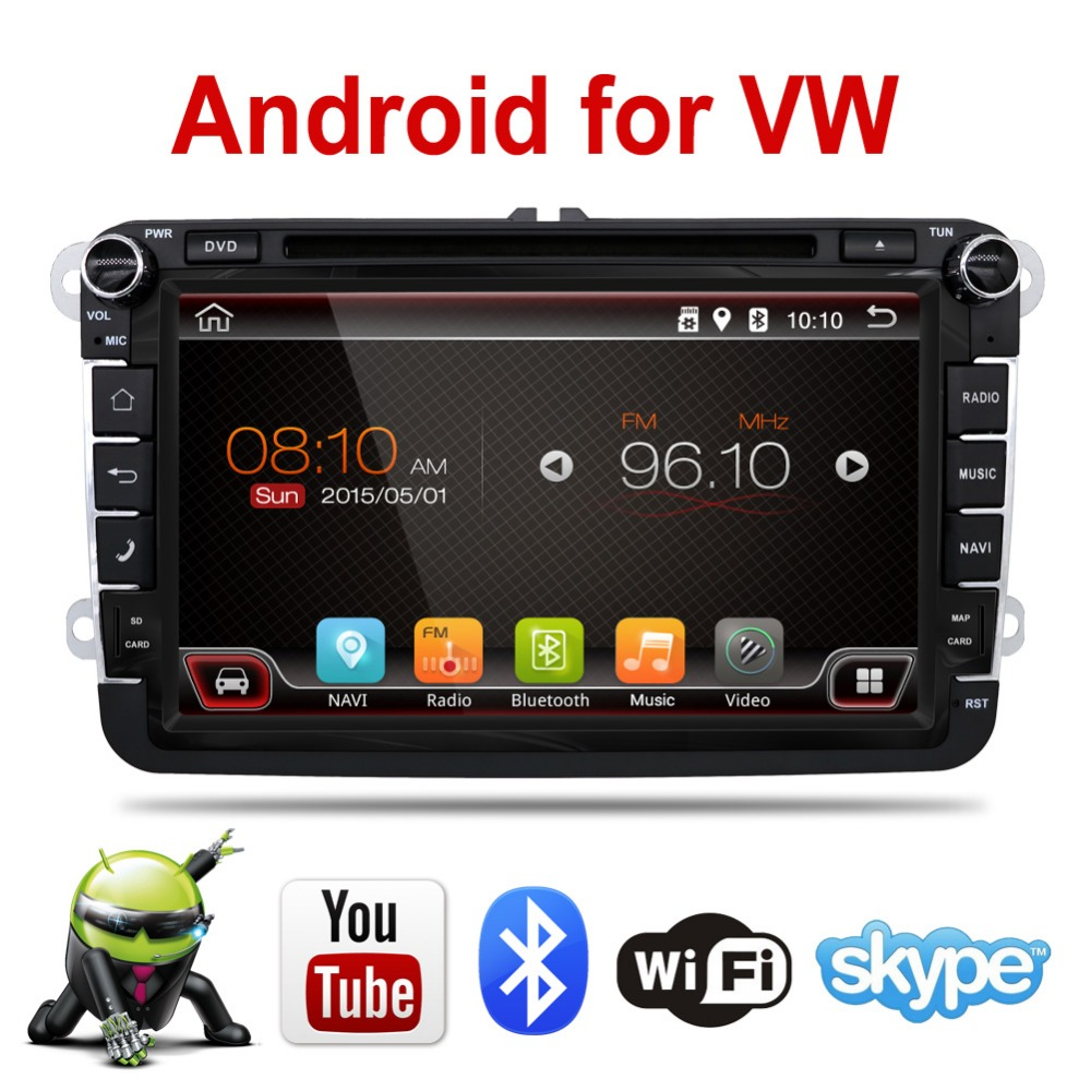 Free shipping Android Car DVD player 2 din for VW Golf Jetta Tiguan Touran for Skoda