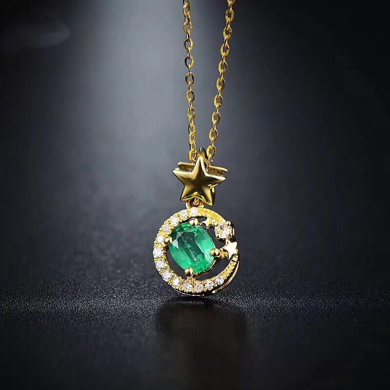 Vintage emerald jewelry Princess Cut natural emerald ring earrings necklace pendant solid silver emerald