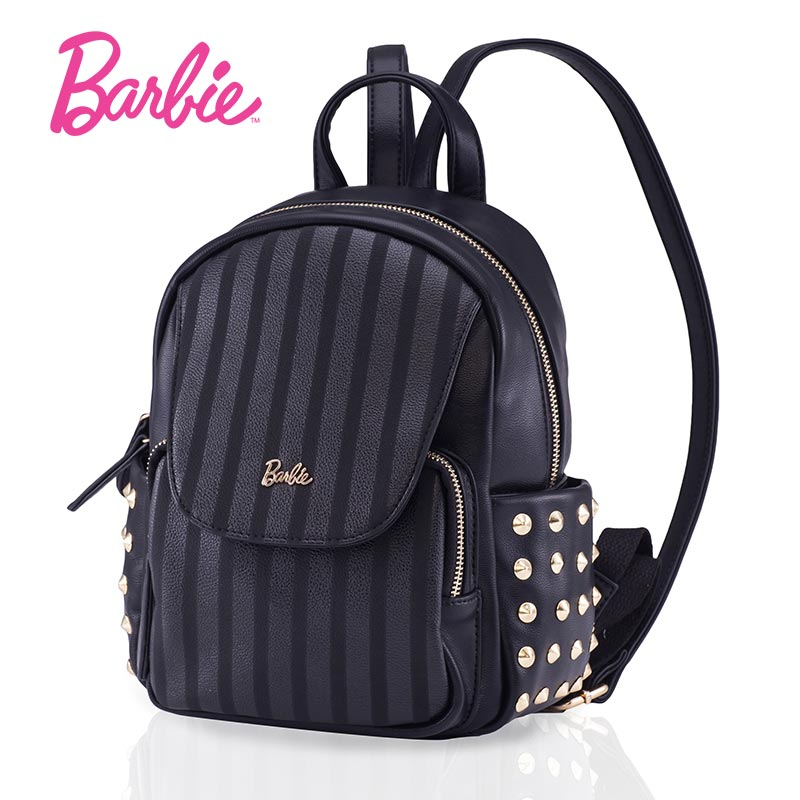 Barbie 2018 NEW fashion backpacks women backpack black cute striped Leather school bag women Casual style bags free style hot sale women s backpack the oil wax of cowhide leather backpack women casual gentlewoman small bags genuine leather school bag