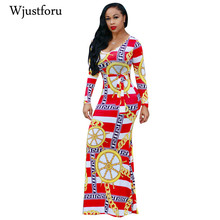 ФОТО wjustforu fashion vintage bodycon print elegant dresses women dashiki casual long maxi dress african party club female vestidos