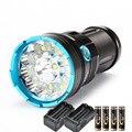 Светодиодный фонарик 6000 люмен  мощный фонарь 12 x XM-L T6  водонепроницаемая лампа для кемпинга + аккумулятор 4*18650 + 2 * зарядное устройство