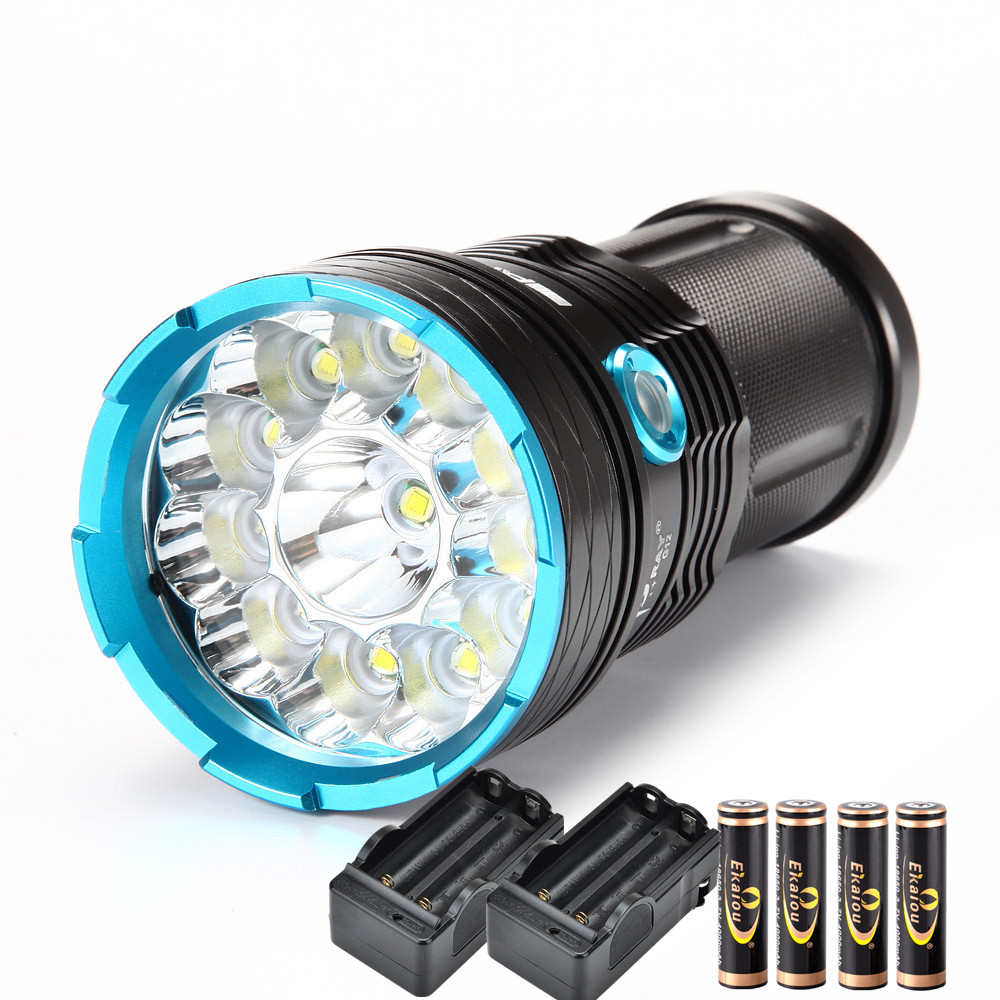 LED Flashlight <font><b>20000</b></font> lumen High-power torch <font><b>12</b></font> x XM-L T6 Camping Waterproof lamp +4*18650 battery +2*Charger image