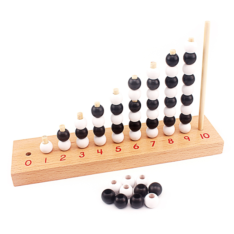 Montessori Baby Mathematics Toy 1-10 Odd And Even Digital Number White & Black Beads Chess Board Wooden Toy Early Preschool Kids