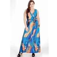 Women Summer Beach Dress V Neck Sleeveless Sexy Open Back Dress Long Maxi Dresses Large Sizes 5XL 6XL Vestidos Longos