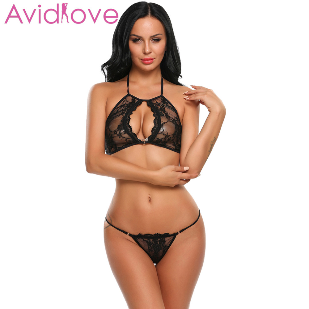 Avidlove  Sexy Hot Erotic Bra Sets For Women Sexy Lace Floral Halter Babydoll Lingerie Backless Nightwear With G String