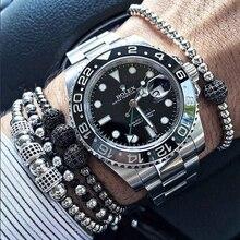Brand 4MM Titanium Steel Beads Braiding Macrame Men Bracelet for Men Jewelry 2016 8mm CZ Inlay Beads Charms Bracelets & Bangles