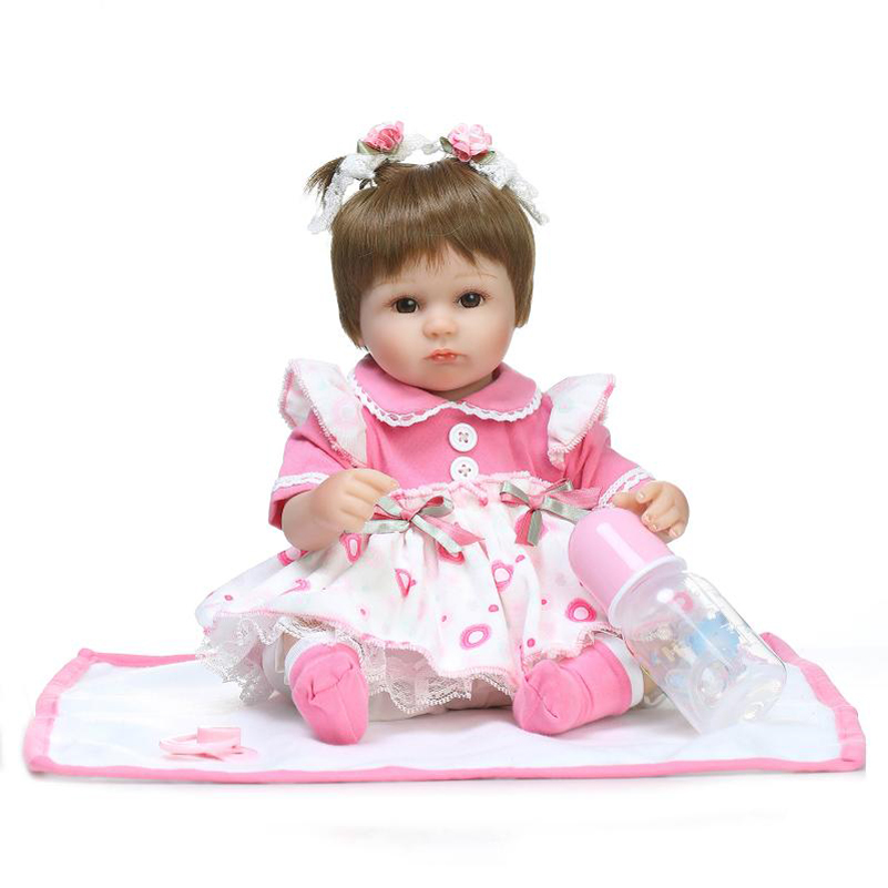 42CM Alive Silicone Baby Born Doll Reborn Dolls Toys Girls With Pink Skirt Dress Baby Bottle Blanket Christmas Gifts For Girls little cute flocking doll toys kawaii mini cats decoration toys for girls little exquisite dolls best christmas gifts for girls