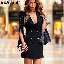 8d239335d9b0 BeAvant Split flare manicotto del merletto up giacca sportiva del vestito  Delle Donne OL breve nero