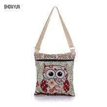 Hot Sale Luxury Canvas Women Beach Bag Owl Print Designer Women Shouder Bag Brand Fashion Female