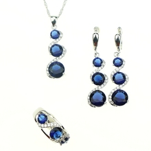 Nuevas Mujeres Juegos de Joyería Plata 925 Azul Creado Cristal Blanco Circón Pendientes/Colgante/Collar/Anillo Libre Caja de regalo