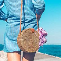 Beach Round Rattan Handmade Women Shoulder Bag Wicker Woven Crossbody Bags Handbag