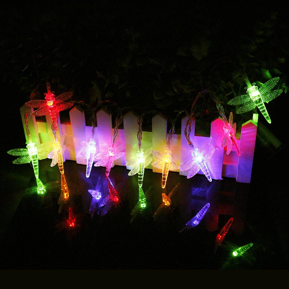 120cm 10leds Dragonfly Led String lights flash Lantern Powered by 2*AA Battery Birthday Holiday Party Christmas Decor new Q